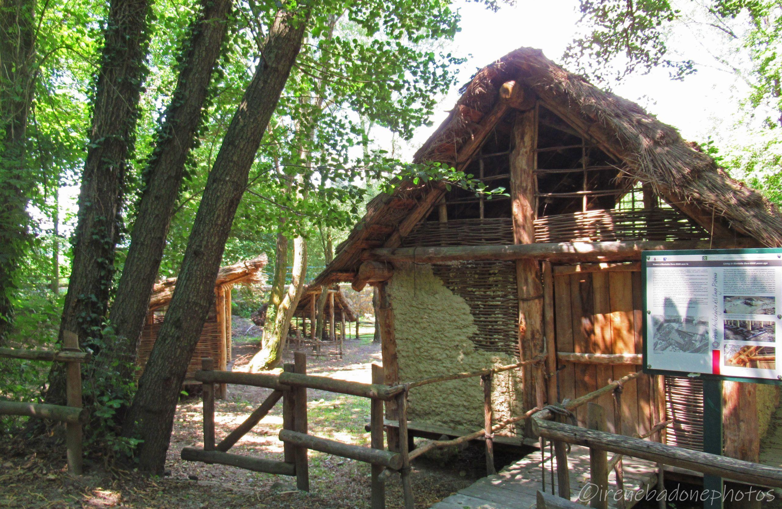 Ricostruzione di un villaggio del Neolitico sul Lago Pistono